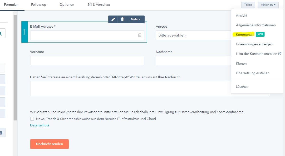 Hubspot_Kommentarfunktion_Formular